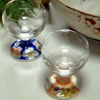 グッドデザイン賞受賞!九谷焼陶器のペアワイングラス。グラス部分は江戸切子ガラス、足の部分が九谷焼です...
