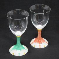 グッドデザイン賞受賞! 九谷焼陶器のペアワイングラス。グラス部分は江戸切子ガラス、足の部分が九谷焼で...