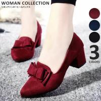 商品名:ベリボンチャンキーヒールパンプス/Ribbon chunky heel pumps   (サ...
