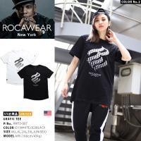 ロカウェア ROCAWEAR Tシャツ 半袖 ブランドロゴ バイアス柄 グラデーション ビッグシルエット アメカジ 白 黒