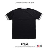 エピトミ EPTM Tシャツ 半袖 かっこいい 金 刺繍 バイカラー 切替 スポーツ 黒グレー
