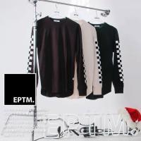 エピトミ EPTM ロンT 長袖Tシャツ ロンティー チェッカーフラッグ柄 袖プリント シンプル 黒