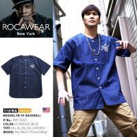 ロカウェア ROCAWEAR ゲームシャツ 半袖 ベースボールシャツ デニム ストライプ ナンバー99 王冠 刺繍 インディゴ