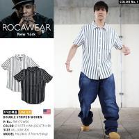 ロカウェア ROCAWEAR 半袖シャツ かっこいい ストライプ 縦 シンプル 白 黒 アメカジ
