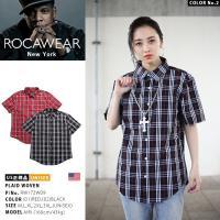 ロカウェア ROCAWEAR 半袖シャツ かっこいい チェック柄 シンプル 赤 黒