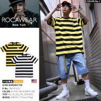 ロカウェア ROCAWEAR Tシャツ 半袖 かっこいい ボーダー柄 刺繍 スカル ボクシング 黄色黒白大きいサイズ