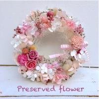 プリザーブドフラワー  ドライフラワー リース ホワイト ピンク ホワイトデー プレゼント 結婚祝い 出産祝い 誕生日