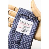 (フェアファクス) FAIRFAX 格子&ピンドットのジャカードタイ ネイビー系 シルク100% イタリー生地使用 ネクタイ 日本製