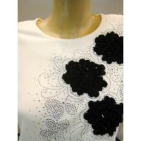 社交ダンス衣装・ステージ衣装/ゆったりサイズ/、パッチワーク刺繍・ストレッチカットソー 白 Lサイズ