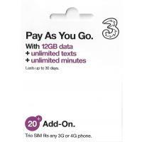 イギリス プリペイドSIM 4G・3Gデータ通信12GB