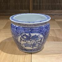 青花魚缶金魚 水鉢(大)