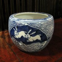 ◆サイズ φ13cm (内径10cm)×H10cm ◆材質     陶器  ◆備考     染め付け...