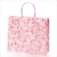 咲き誇る桜模様に黄色と緑のアクセントがおしゃれな、和風テイストのペーパーバッグです。  袋の上部は折...