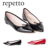 レペット REPETTO バレエシューズ 艶やかなパテントレザーとポインテッドトゥのデザインが、女性...