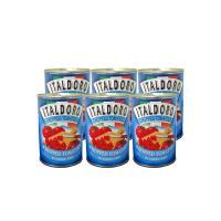 本場イタリア産トマトを使用した「イタルドーロ社」のトマト缶。サイコロ状にカットされており、カットする...