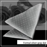 ポケットチーフ 日本製 シルク シルバー系朱子 ドット 綺麗な艶が人気のフォーマル プレゼント