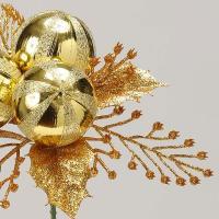 《 クリスマス 造花 》花びし/ハナビシ ゴールドボールピック ゴールド