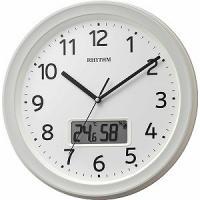 リズム時計工業 RHYTHM 温度・湿度計付電波掛け時計 「フィットウェーブリブA02」 8FYA02SR03