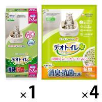 【お得なセット】デオトイレ 消臭・抗菌シート 無香タイプ 大容量 20枚 1袋 + サンド 4L 4袋 猫砂