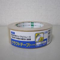 オカモト クラフトテープ No.204 シュリンク包装 クリーム 幅38mm×長さ50m巻 1巻