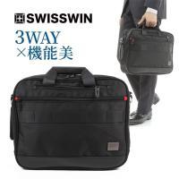 SWISSWIN バックパック 3way ビジネスバッグ ブリーフケース カバン 鞄 バッグ メンズ リュックサック ブランド サイドポケット 大容量 軽量 出張 A4 初売り