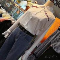 長袖シャツ 刺繍 シングルブレスト ホワイト