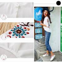 ブラウス 花柄刺繍 シャツ トップス 7分袖 プルオーバー