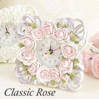クラシカルローズ 置き時計 ピンクとホワイトの2色よりお選びください。 サイズ:W12×H12×D3...
