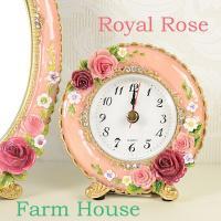 ファームハウス ロイヤルローズ 置き時計 ピンクとアイボリーの2色よりお選び下さい。 サイズ:約10...