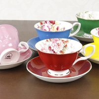 商品名:カップ&ソーサー カラー:ピンク レッド ブルー グリーン イエロー 商品は上記の5...