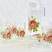 素敵な薔薇柄のタンブラー6個とポット1個の計7個セットです。 真夏のティータイムや、お中元など贈り物...