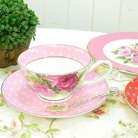 5種類から選べるバラドット柄のカップ&ソーサー  ピンク、レッド、パープル、グリーン、イエロー の5...
