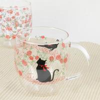 耐熱ガラス 猫柄と花柄のマグカップ 4種類からお選びください。 サイズ:直径8.5×H10(取っ手含...