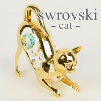スワロフスキー 置物 ネコ サイズ:W7×D3×H7cm 材質:スワロフスキークリスタル、合金に金メ...
