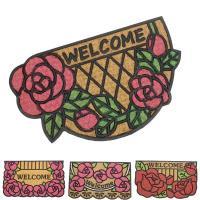 薔薇のコイヤーマット 玄関マット サイズ:W75×D45cm 材質:表/ココヤシ繊維、裏/ラバー(滑...