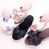 姫系 リボンヒールスリッパ カラー:ブラック、ブラックレース、ピンク、グレージュブラック、 ベージュ...