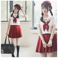 卒業式 スーツ 半袖 セーラー服 コスプレ 高校 女子高生 制服3点セット 学生 入学式 スクール シャツ 赤リボン プリーツスカート 大きいサイズ イベント用に最適
