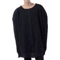 ラフシモンズからオーバーサイズビッグニットセーター。USED感が出るよう前後の中心で切り、再度縫直し...