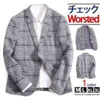 テーラードジャケット メンズ チェック柄 1ボタン ウール スーツ カジュアル物   ■サイズ(CM...