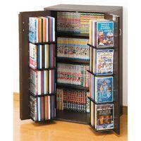 《日本製 収納ラック4段 カギ付 幅59.5cm コミックラック DVDラック Blu-ray 収納...