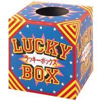 紙製の組み立て式抽選箱です。イベントにぴったりのデザイン「ラッキーボックス」の文字入りです。 ●組立...