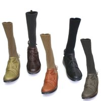 ブーツ ニット ロング 定番くしゅくしゅニットロングブーツ