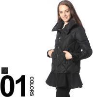 裾のフリルが女性らしいダウンジャケット。ボリュームのあるネックデザインが目を引くポイントです。ダブル...