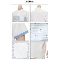 大きいサイズ メンズ B&T CLUB ビーアンドティークラブ 綿100% マリンパネル柄 ボタンダウン 半袖 カジュアルシャツ メンズ