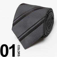 スーツスタイルのお洒落をさりげなく盛り上げてくれるピンドット×ストライプのデザインが印象的なネクタイ...