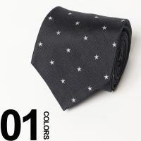素材にシルクを100%使用したネクタイです。落ち着いたネービーカラーにスター柄が施され、スーツスタイ...