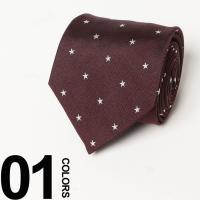 素材にシルクを100%使用したネクタイです。あしらわれたスター柄がスーツスタイルのワンポイントアクセ...