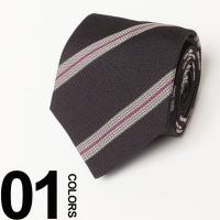 ストライプが印象的なシルク100%ネクタイ。落ち着いたカラーリングで使う人を選ばないアイテムです。ビ...