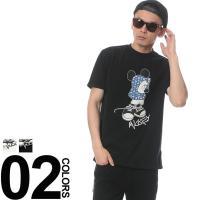 カジュアルスタイル定番のクルーネック半袖Tシャツ。ミッキーマウスのプリントがデザインのアクセントです...