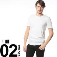 カジュアルスタイル定番のクルーネック半袖Tシャツです。リブストライプのデザインが印象的。単品でもレイ...